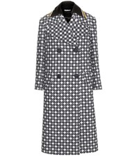 Miu Miu Wool Check Coat With Striped Leather Collar Blue