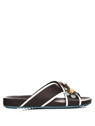 Fendi Flowerland Leather Slides Black Multi