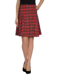 Noshua Knee Length Skirts Red