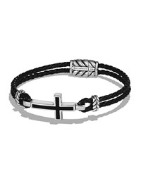 David Yurman Men's Cross Station Woven Leather Bracelet Black