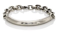 Title Of Work Men's Sterling Silver Bar And Chain Bracelet