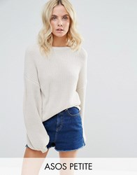 Asos Petite Jumper With Volume Sleeve Stone
