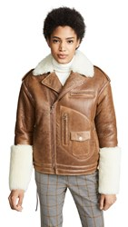 Monse Shearling Biker Jacket Napa Tobacco