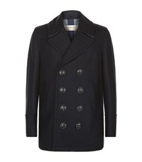 Burberry Double Breasted Pea Coat Male Navy