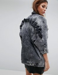 Diesel Oversized Denim Jack With Frill Gray