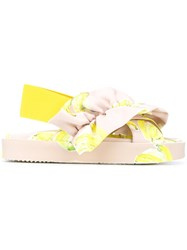 Msgm Gathered Banana Sandals Women Polyester Rubber 36 Nude Neutrals