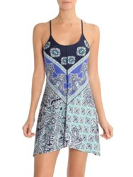 In Bloom Blue Eyed Grass Geometric Print Chemise Aqua Royal Print