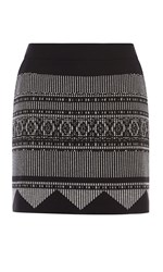 Karen Millen Aztec A Line Mini Skirt Black Multi