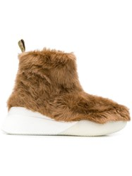 Stella Mccartney Ankle Faux Fur Boots Brown