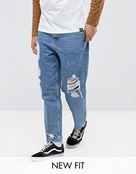 Asos Skater Jeans In Vintage Mid Wash Blue With Heavy Rips Blue