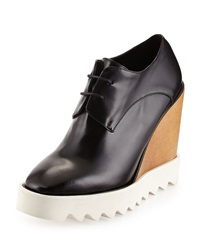 Faux Leather Wedge Oxford Black Stella Mccartney