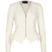 River Island Womens White Zip Up Smart Peplum Blazer