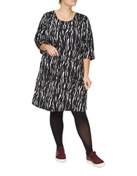 Junarose Ninal Zeenan Three Quarter Sleeve Printed Shift Dress Black White