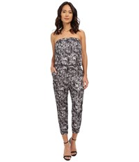 Brigitte Bailey Marbled Satin Strapless Romper Grey White Women's Jumpsuit And Rompers One Piece Gray