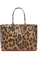 Christian Louboutin Cabata Spiked Leopard Print Textured Leather Tote Leopard Print