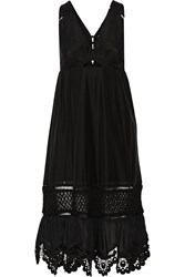 Thakoon Addition Cutout Crochet Trimmed Cotton And Silk Blend Midi Dress