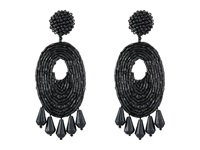Kenneth Jay Lane Oval W Drops Round Top Earrings Black Earring
