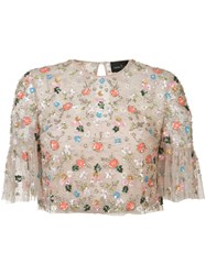Needle And Thread Embellished Embroidered Top Pink Purple