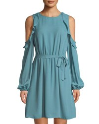 Tahari By Arthur S. Levine Matty Ruffled Cold Shoulder Dress Spa Blue