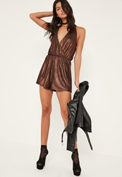 Missguided Brown Metallic Pleat Wrap Playsuit Bronze