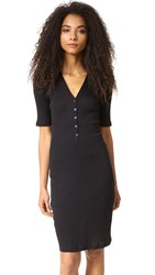 6397 Rib Henley Dress Black