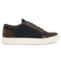 Armani Collezioni Navy Canvas Brown Leather Low Top Sneakers