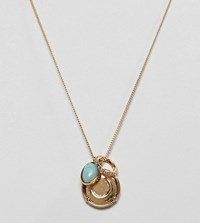 Asos Design Premium Gold Plated Necklace With Coin And Semi Precious Stone Pendants