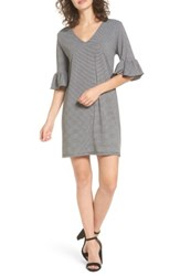 Cotton Emporium Women's Flare Sleeve Stripe Dress Black Grey