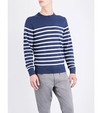 Tommy Hilfiger Striped Knitted Cotton Jumper Nautical Blue