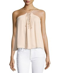 Haute Hippie Cross My Heart Grecian Laced Silk Camisole Ballet Light Pink