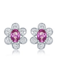 Diana M. Jewels 18K White Gold Pink Sapphire And Diamond Flower Button Earrings Women's