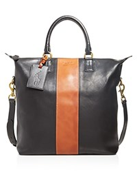 Polo Ralph Lauren Striped Leather Tote Bag Black