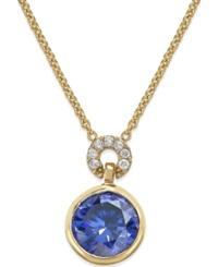 Kate Spade New York Round Crystal Pendant Necklace Blue