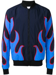 Msgm Applique Bomber Jacket Blue