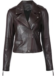 Paige Biker Jacket Leather L Red
