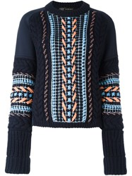 Versace Oversize Stitch Knit Sweater Blue
