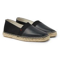 Orlebar Brown Sutton Canvas And Glossed Leather Espadrilles Black