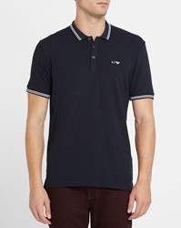 Armani Jeans Navy Cotton Pique Slim Fit Polo Shirt With White Trim And Chest Logo Blue