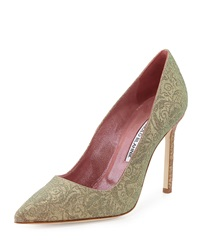 Manolo Blahnik Bobby Iridescent Brocade Point Toe Pump