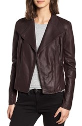 Andrew Marc New York By Felix Stand Collar Leather Jacket Burgundy