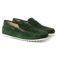 Tod's City Gommino Suede Penny Loafers Forest Green