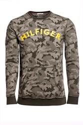 Tommy Hilfiger Men's Camo Sweatshirt Military Green
