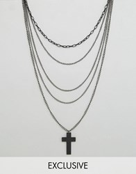 Reclaimed Vintage Inspired Necklace With Cross Pendant Black
