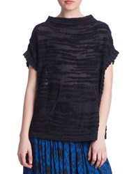 Plenty By Tracy Reese Cotton Blend Short Sleeve Top Black