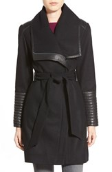 Belle Badgley Mischka Women's 'Lorian' Faux Leather Trim Belted Asymmetrical Wool Blend Coat