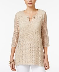 Jm Collection Crochet Tunic Only At Macy's Stone
