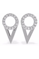 Astrid And Miyu Fitzgerald Circle Rhodium Plated Crystal Earrings Silver