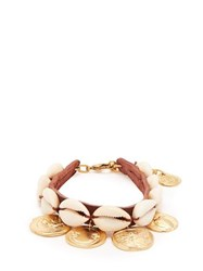 Ancient Greek Sandals Puka Shell And Coin Charm Leather Anklet Brown