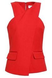 Amanda Wakeley Wrap Effect Twill Top Red