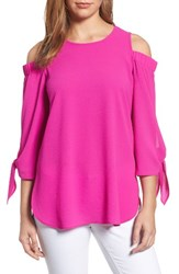 Gibson Women's Cold Shoulder Top Neon Berry